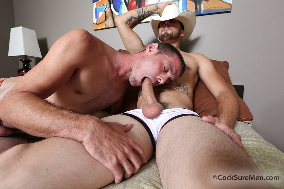"Cocksure Men Brett Bradley and Dustin Steele Cowboy gets fucked bareback in the ass Amateur Gay Porn 02 Brett Bradley Breeding A Cowboy With His 10"" Thick Cock"